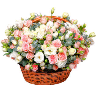 Цветы в корзинке с эустомами
